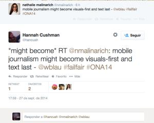 Un tweet de N. Mallnarich, editora de noticias para móviles de BBC.
